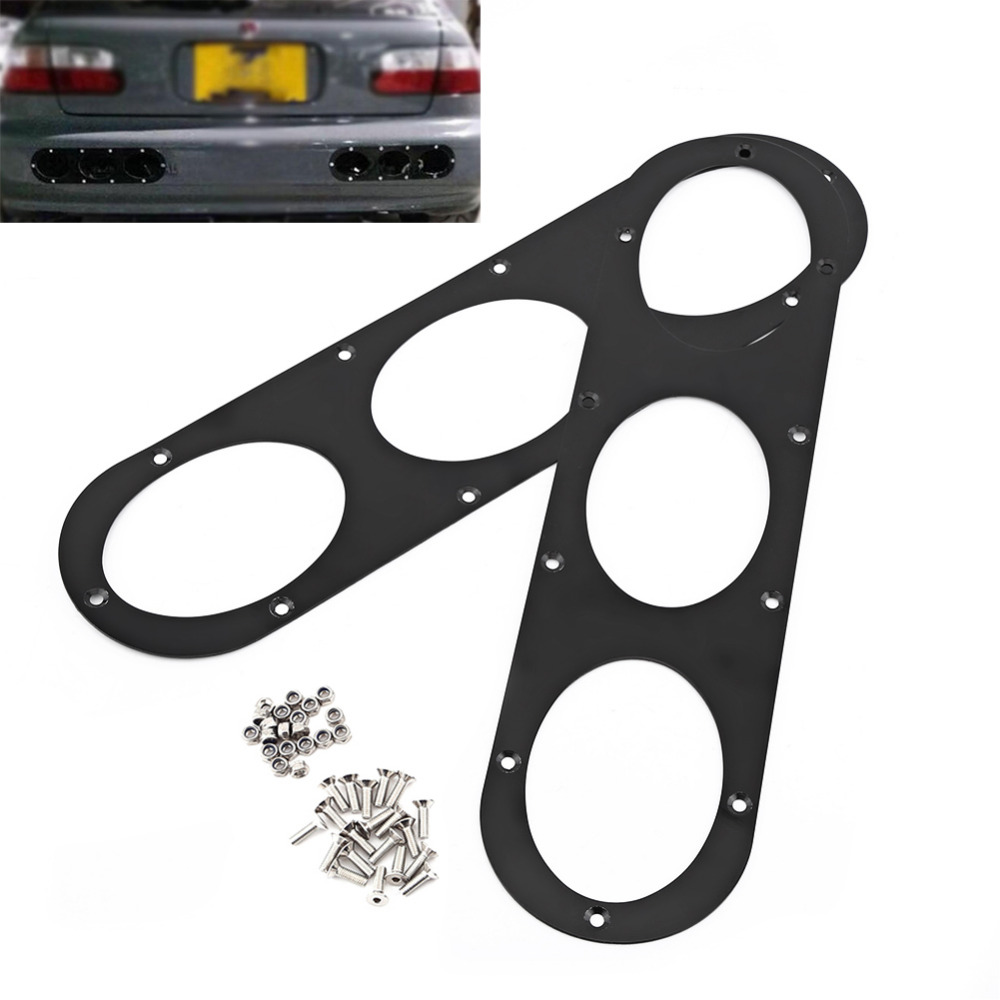 2pcs Rear Bumper Diffuser For Universal Car Air Diversion Diffuser Panel Car Styling Aluminium Alloy Black