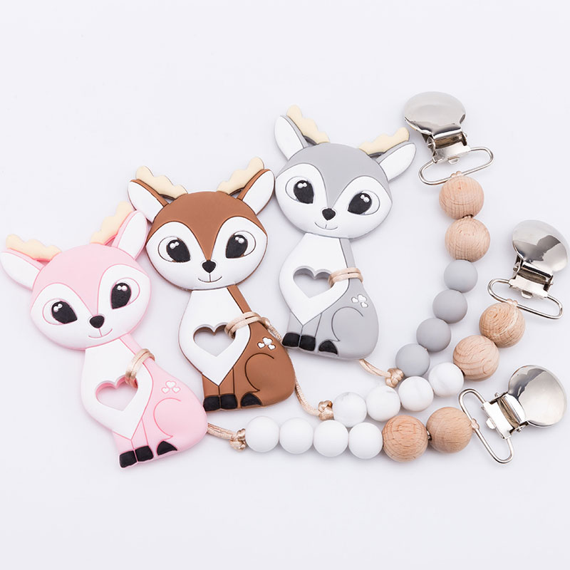 Baby Pacifier Clips Chain Food Grade Silicone Sika Deer Teether Wooden Pacifier Chain Rodents Baby Teether Car Toys Baby Goods