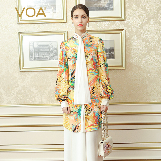 VOA Heavy Silk Blouse Office Lady Shirt Macarons Yellow Plus Size 5XL Women Tops Print Lantern Long Sleeve Boho Spring BSH02501