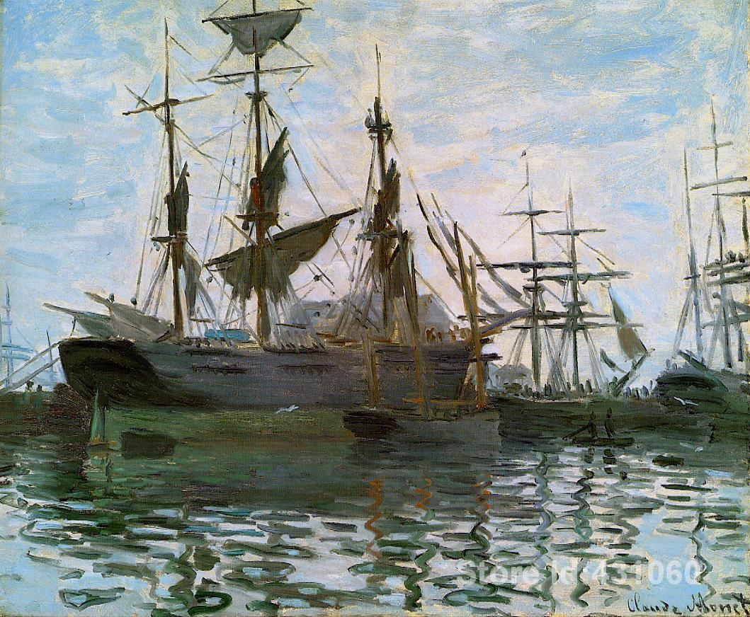 Famous Claude Monet's Paintings Ships in Harbor Art Gallery for bedroom High quality Hand painted