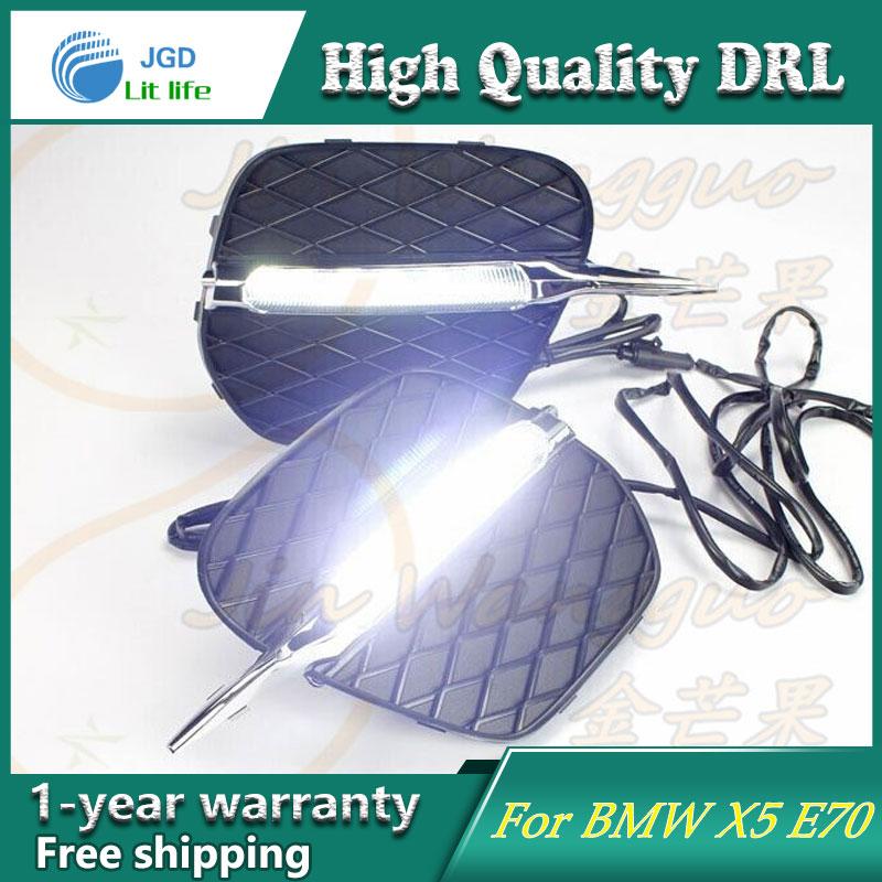 Free shipping !12V 6000k LED DRL Daytime running light case for BMW X5 E70 2011 2012 fog lamp frame Fog light Car styling