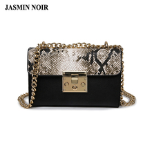 New spring and summer 2017 fashion handbags Women Messenger Bag Chain Crossbody bags Snake leather brand designer bags ladies