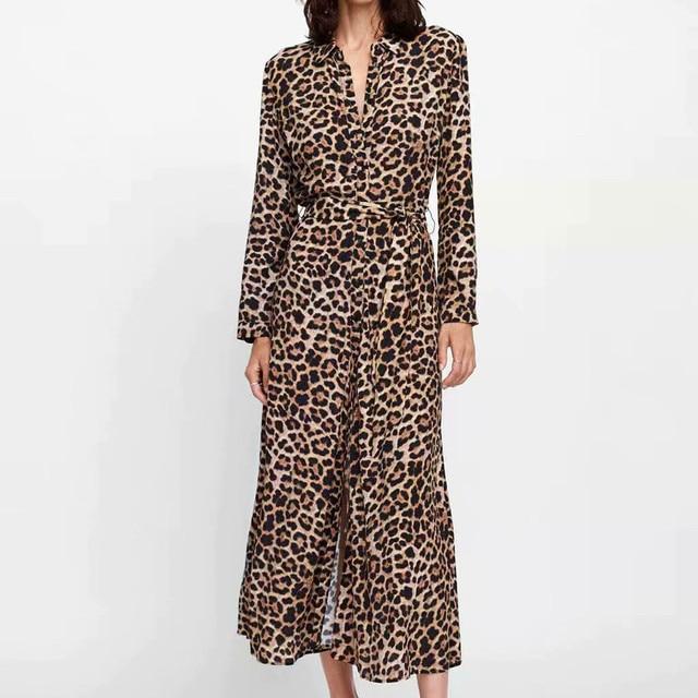 Feitong 2018 Fahsion Womens Leopard Print Maxi Dress Cotton Dress Ladies Holiday Long Sleeve Fashion Dresses Vestido