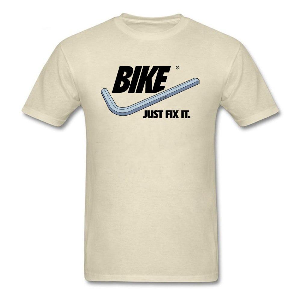 Men Funky Comics T Shirt O-Neck Fall Cotton Fabric Top T-shirts cosie Short Sleeve BIKE-Just-Fix-It- Tees Wholesale BIKE-Just-Fix-It- beige