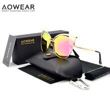 """AOWEAR бренд солнцезащитные очки «кошачий глаз» Для женщин поляризованные HD градиентное зеркало Винтаж очки женские солнцезащитные очки """"кошачий глаз"""" Lentes De Sol Mujer A728"""