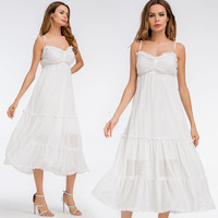Summer Sundress Long Women White Beach Dress Strapless 2018 New High Quality Loose Sexy Sling Lace
