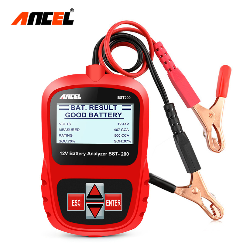 цена на Ancel BST200 12V Car Battery Tester AGM GEL CCA SAE Auto Battery Analyzer In Portuguese 12 Volt Automotive Battery Analyzer Tool