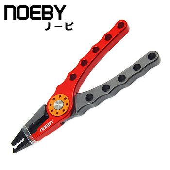 NOEBY 178mm Aluminum Alloy Fishing Pliers Hook Remover Line Cutter Fishing Holder with Retention Rope Fishing tackle Tools