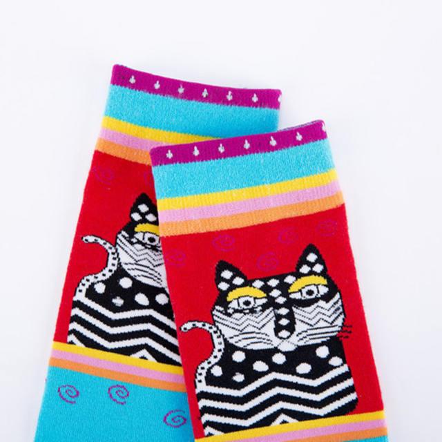 PEONFLY New Printing Colorful Cartoon Kitty Butterfly Polka Dot Pattern Men Socks Personality Fashion Cotton Socks Autumn Winter