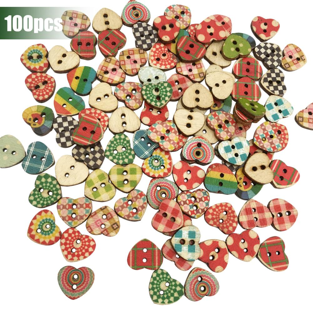 100Pcs Button Material Assorted Design Wooden Buttons Hand Sewing Accessories Crafts Scrapbooking Tools DIY Sewing Gadget