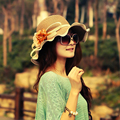 2016 New Summer Sun Hats For Women Girls Straw Hat Hot Sun Cap Fashionable With Flower Summer Beach Hats Wide Brim Floppy Cap