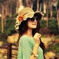 2016 Nuevo Verano Sombreros de Sun Para Las Mujeres Niñas Sombrero de Paja Caliente Gorra de sol de Moda Con la Flor de la Playa Del Verano Sombreros de Ala Ancha Floppy Cap