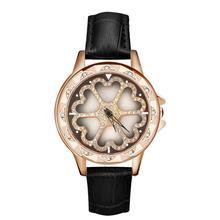 2019 Women Fashion 360 Rotated Lucky Flower Dial Genuine Leather Strap Analog Quartz Lady Wrist Watch new ladies watch relogio цена