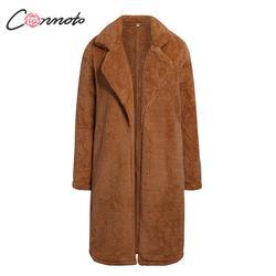 Conmoto Women Winter Suede Jacket 2019 Fashion Teddy Bear Caramel Long Coat Female Long Sleeve Faux Fur Coat Fluffy Outerwear 6
