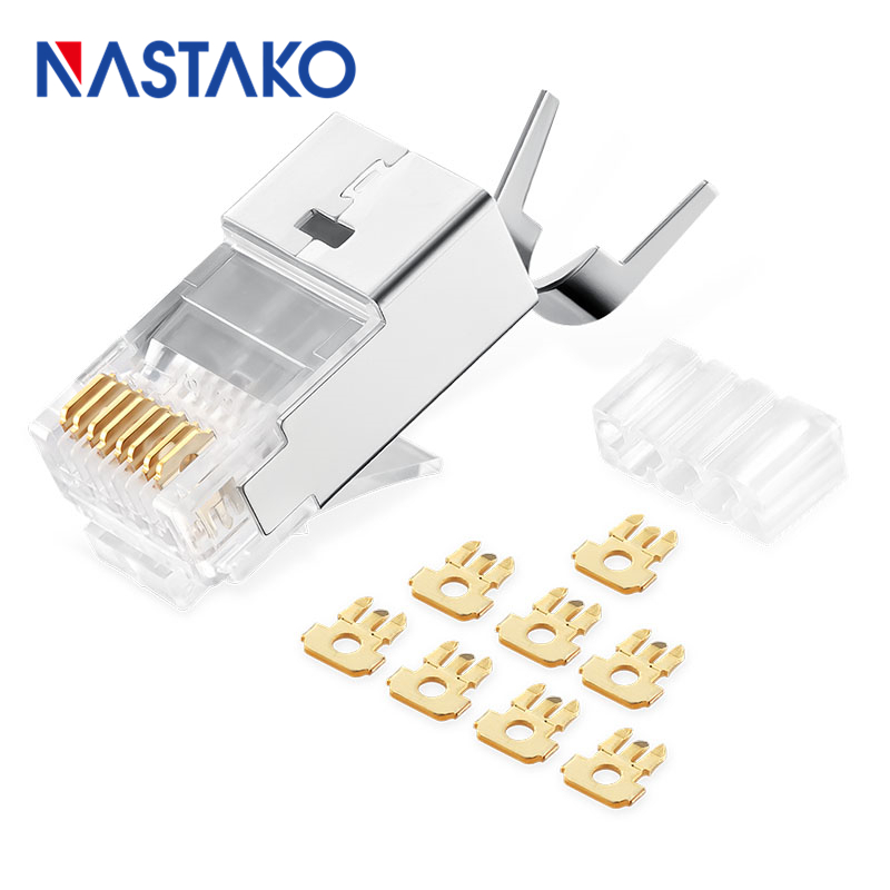 NASTAKO 8Pin Cat6a RJ45 Connector Cat 6a Crystal Plugs Shielded FTP RJ45 Modular Connectors Cat6e Network Ethernet Cable Jack
