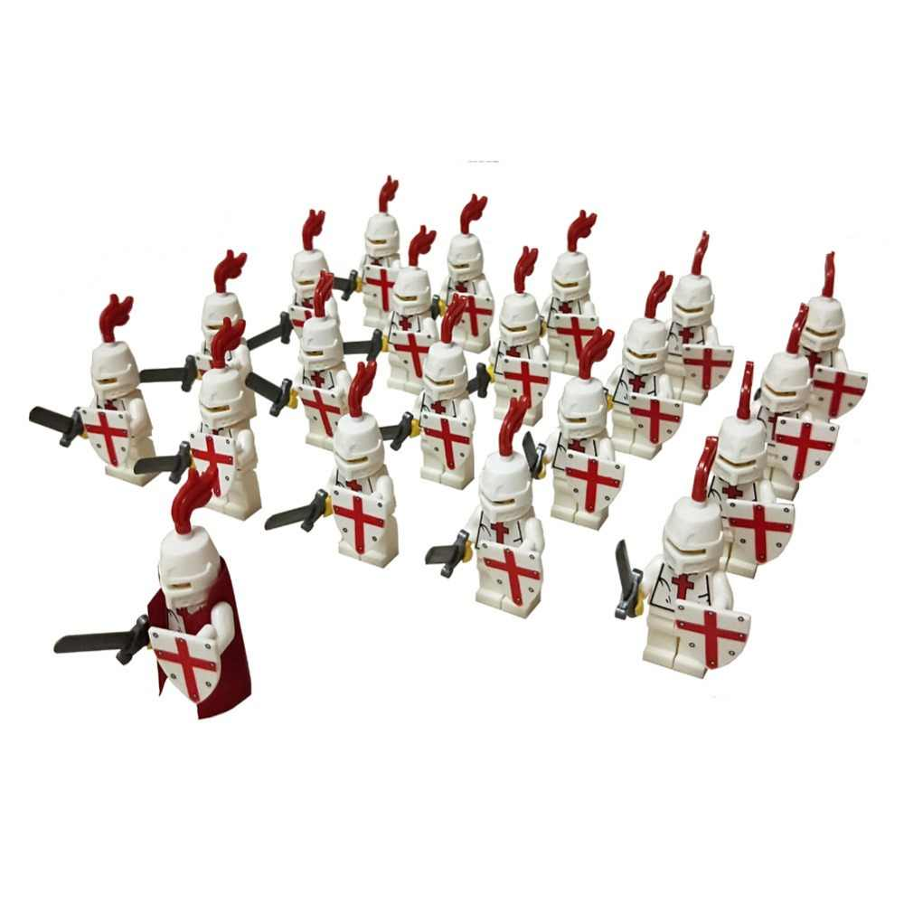 21 pcs Era Medieval Castelo Real do Rei Cavaleiros Cruzados Cavaleiro Armadura Roma Guerreiro Building Block Mini Figura Geral Guarda Costas