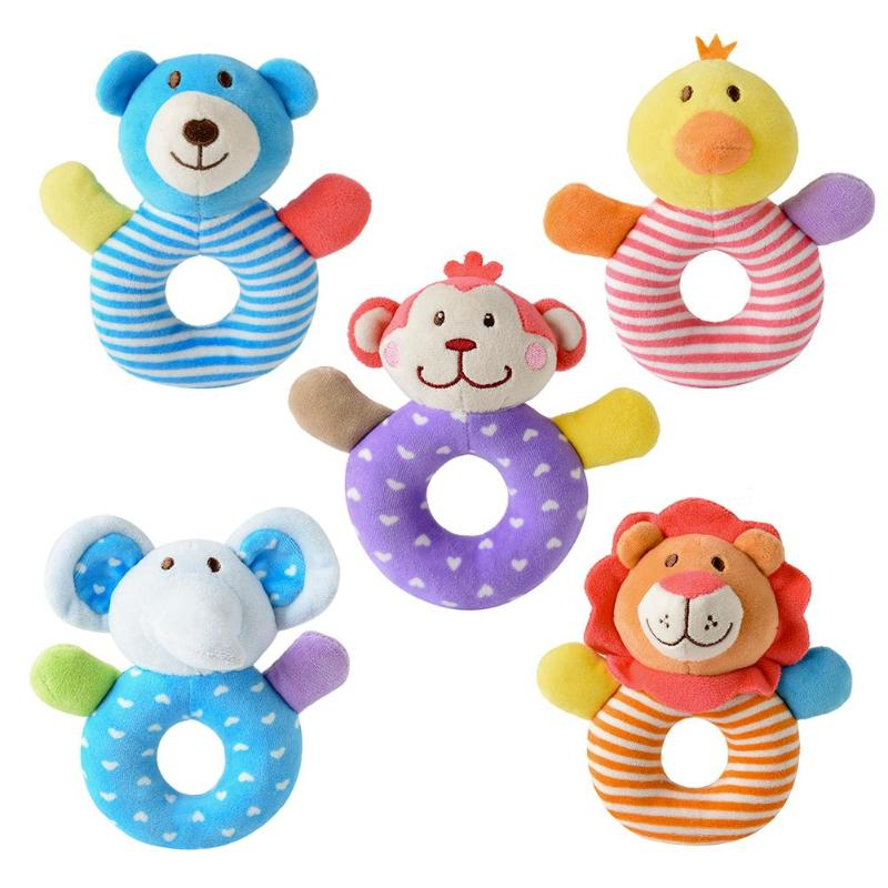 Cartoon Baby Rattles Toys Cotton Infant Stroller Pram Crib Lathe Hanging Plush Toys For Newborns Babies Animal Rattle Toy