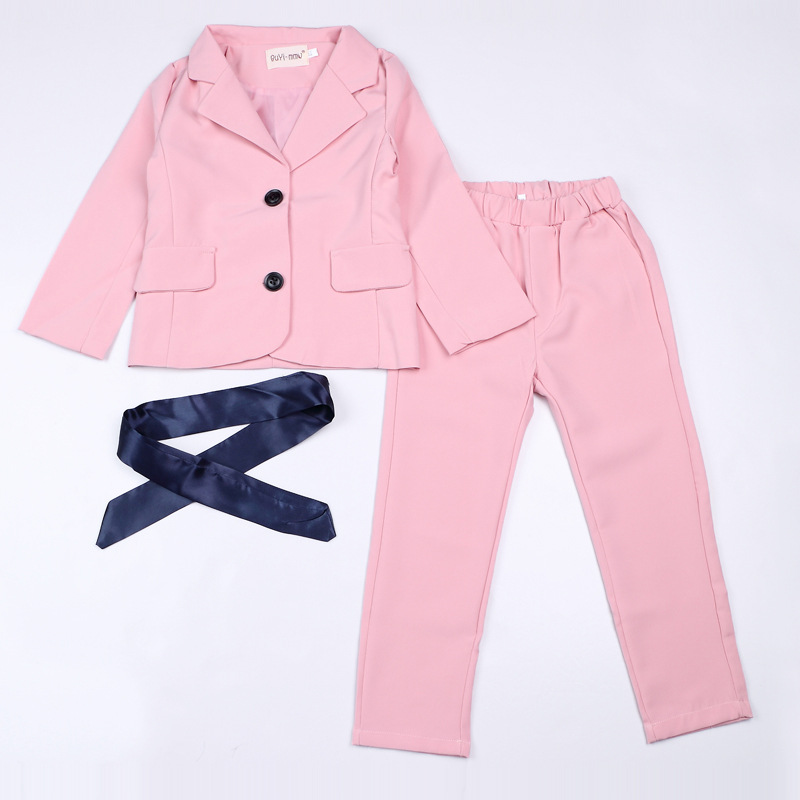 2016 autumn children's clothes girls suits slim sleeveless cotton baby girl formal suits for girls bid kids sets vest+pants 2pcs