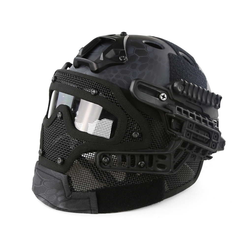 Tactical Helmet G4 System Set PJ Airsoft Helmet Overall Protect Glass Face Mask Goggles for Military Paintball War Game protective outdoor war game military tactical full face shield mask black