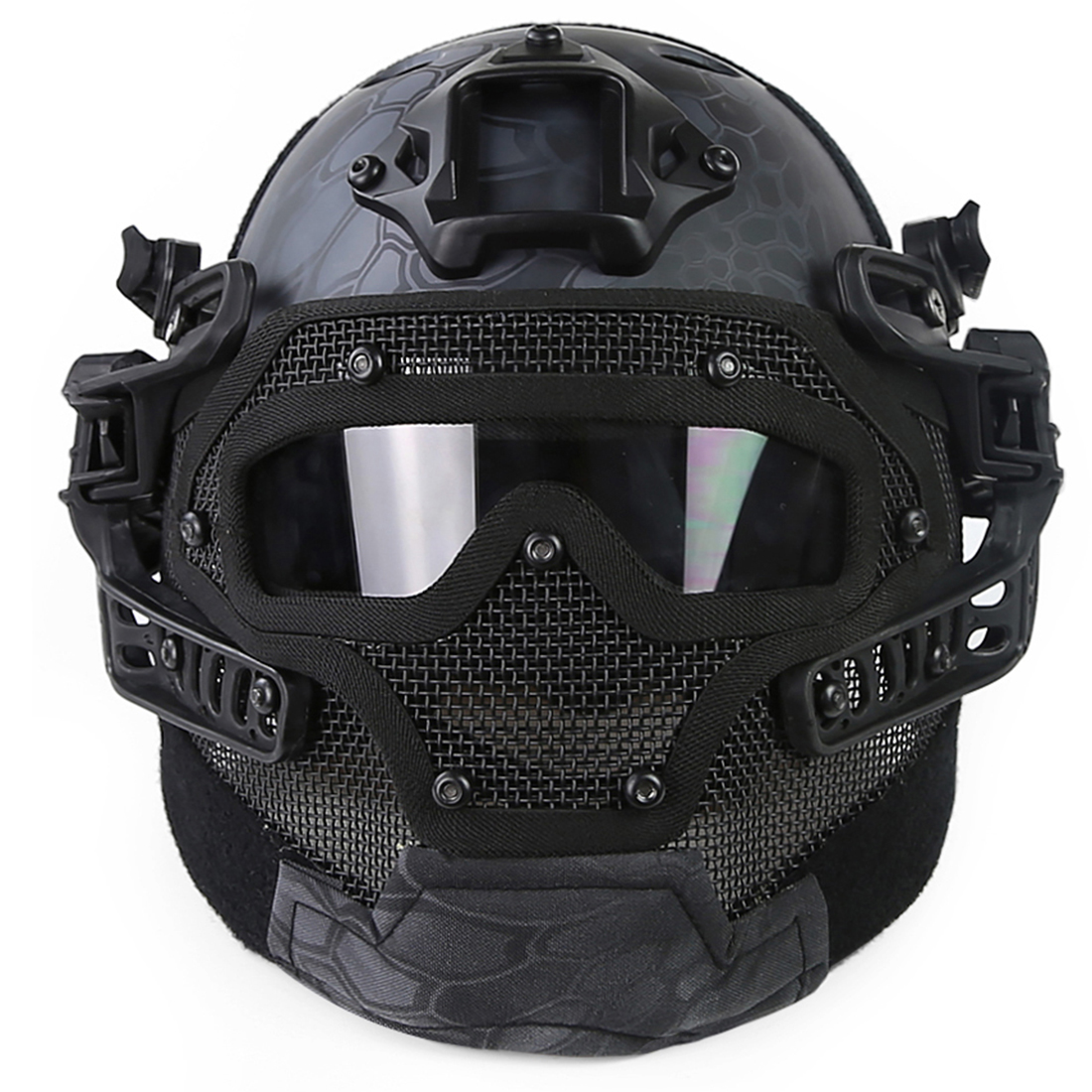 Rowsfire Steel Wire Protective FAST Helmet Suit for Outdoor Activity - Black Python Grain nfstrike steel wire protective fast helmet suit for airsoft military tactics helmet for nerf accessories games outdoor activity