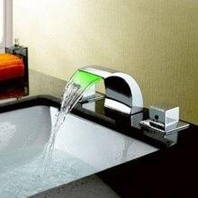WSFS Горячие Продажа Изменение Цвета СВЕТОДИОДНЫЕ Водопад Широкое Кран Раковины Ванной Комнаты (Хромированная Отделка)