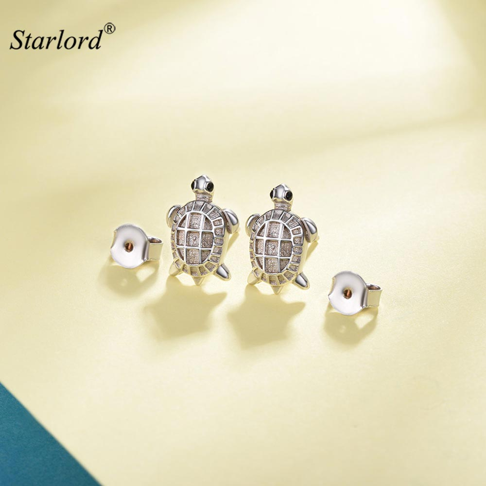 gold l earrings sea tortoise silver turtle stud jewelry
