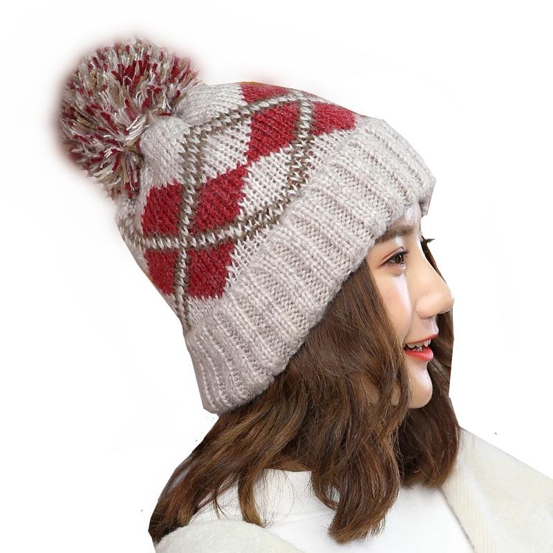 cd05058aee8 2017 New winter hats fashion hair ball caps thick beanie ear warmer gorro  bonnet ladies knitted geometric skullies gift for girl-in Skullies   Beanies  from ...