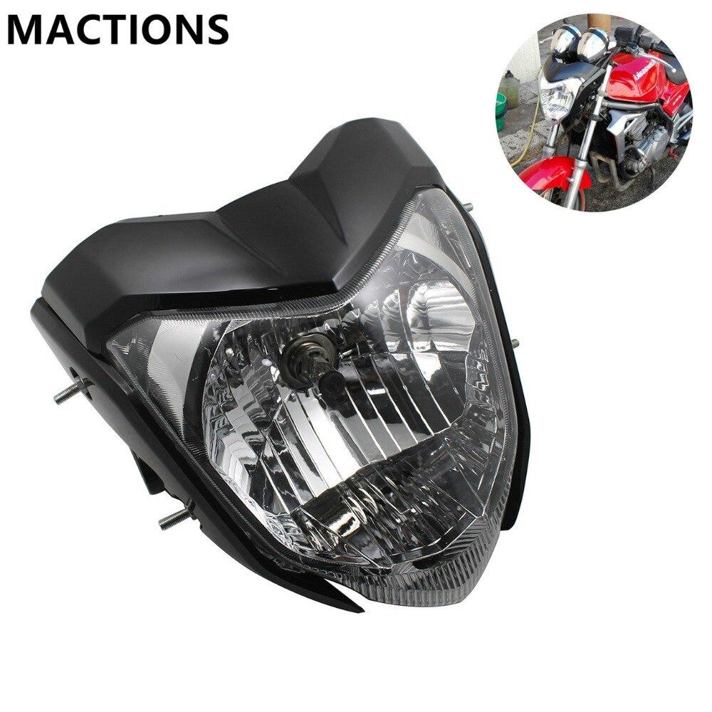 Universel Rracing Moto Phare Avec Ampoule Et Support Fit Pour FZ16, Projecteur Rouge Noir Argent