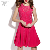 ElaCentelha Brand Dress Summer Women Lace Gauze Embroidery Patchwork Holllow Out Dress Sleeveless Mini Bodycon A