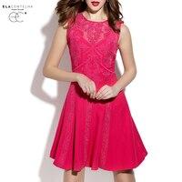 ElaCentelha Brand Dress Summer Women Lace Gauze Embroidery Patchwork Holllow Out Dress Sleeveless Mini Bodycon A
