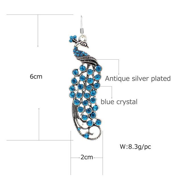 Vintage Look Antique Silver Plated Crystal Peacock Earrings