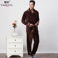 Flannel Autum And Winter Men Thicken Pajama Set Solid Turn Down Collar Button Pocket Sleep Set