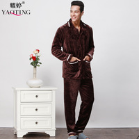 Flannel autum and winter men thicken pajama set solid turn down collar button pocket sleep set coral fleece plus size home wear