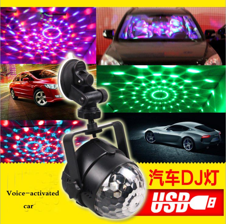 Outdoor car entertainment DJ lights sound control LED crystal magic ball USB car charging stage lights colorful rotation