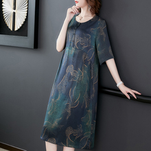100% Real Pure Natural Silk Dress Women Elegant Plus Size High Quality Robe Dresses Party 2019 Summer Vintage Floral Clothing