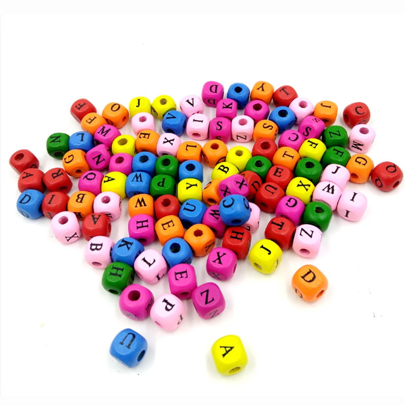 100 Pcs/Set 10mm English Letter Spell Word Beads Toys Small Size DIY Colorful Square Beads Funny Wooden Toys