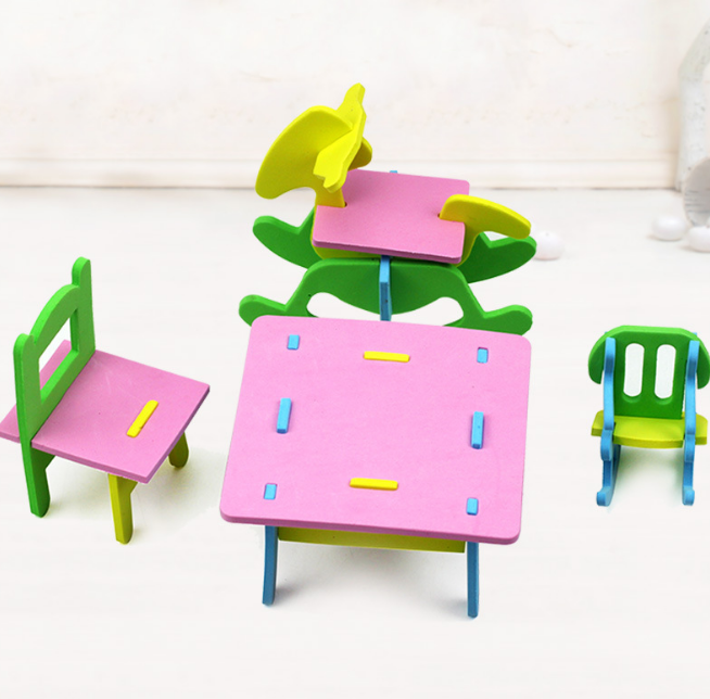 US $1 7 5% OFF|1 Set Cute Hot New DIY EVA Handmade Creative Furniture Play  House 3D Model Puzzles Kindergarten Build Baby Educational Toys-in Puzzles
