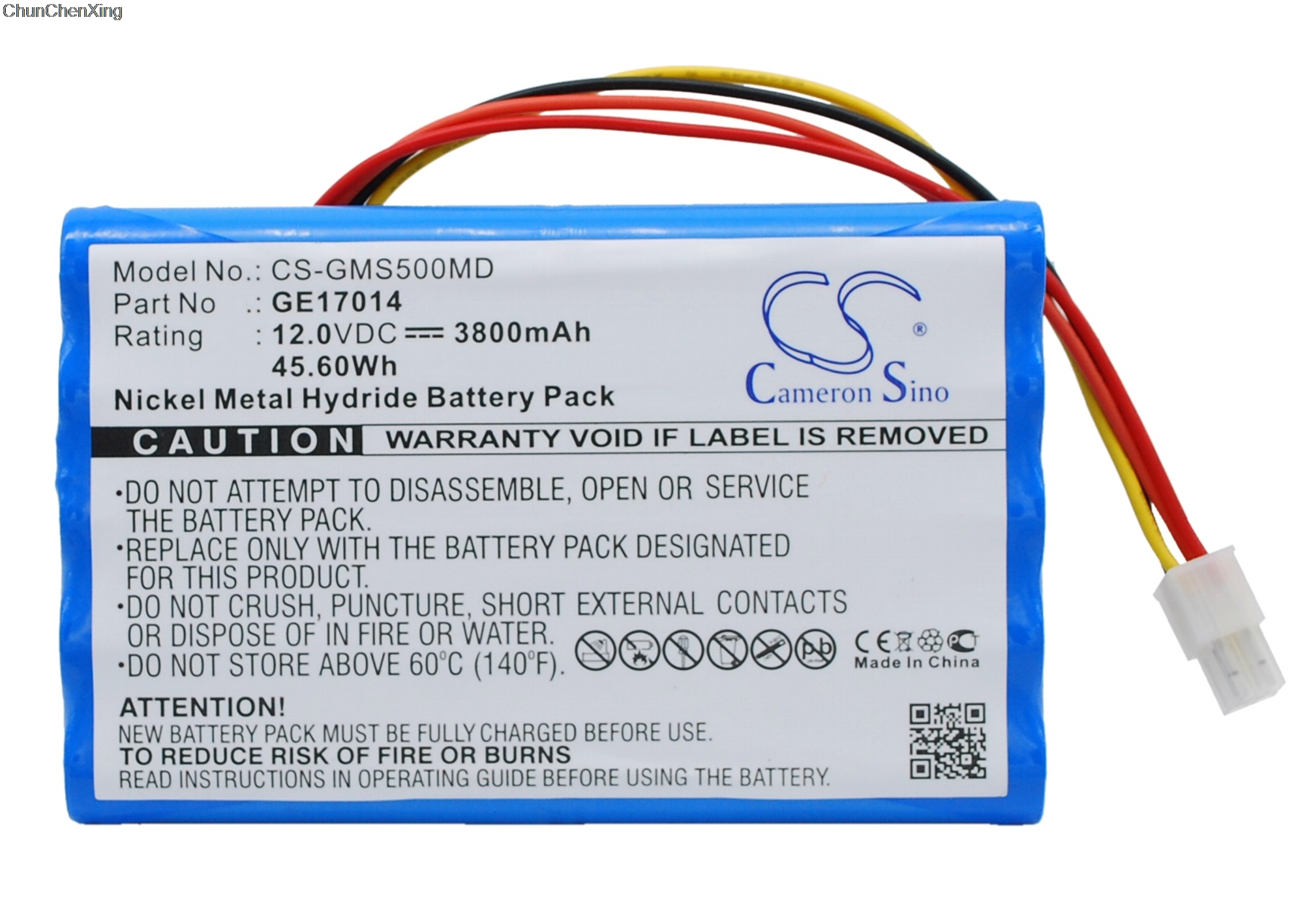 Cameron Sino 3800mAh Battery <font><b>17014</b></font>, AMED2002, B11221 for GE Datex-Ohmeda S5, S5 PATIENT MONITO, S5CAM, image