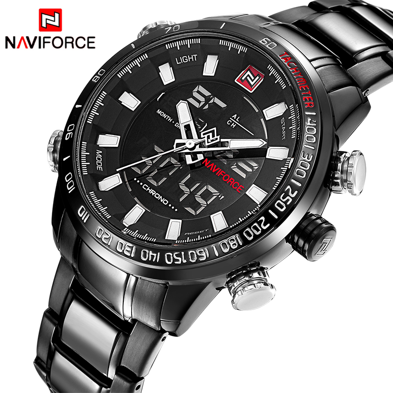 Watches Men Naviforce Luxury Brand Fashion Men Military Sports Watches Men's Quartz LED Hour Clock Male Full Steel Wrist watch
