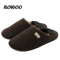 2016 Winter Warm Soft Indoor Floor Slippers Women Men Shoes Woolen Lining Lover Anti Slip Home