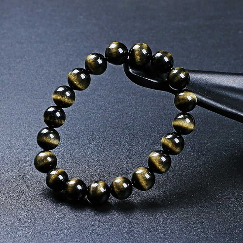 8 AAAAAAAA טבעי אבן זהב Obsidian עין חתול עגול חרוזים למתוח צמיד תכשיטי עם מזל רעה חיילים אמיצים עבור גברים/נשים
