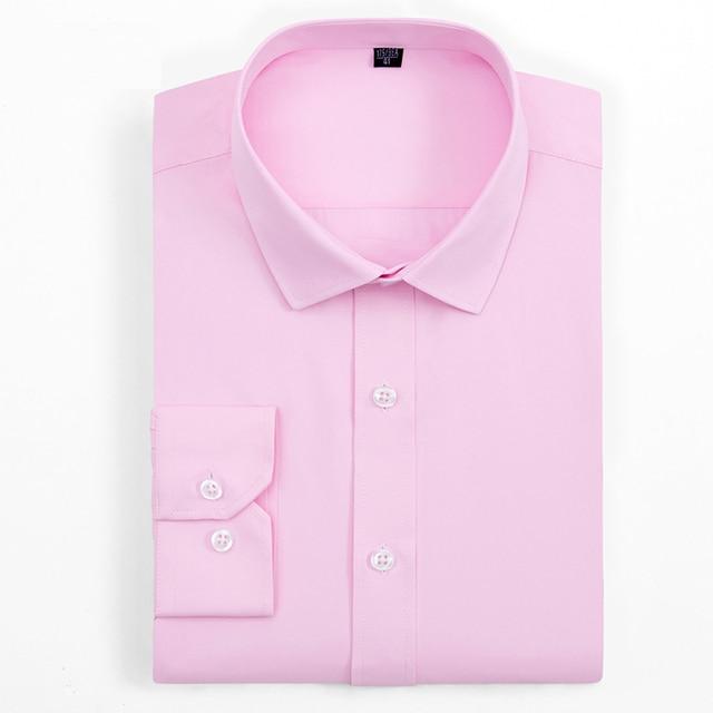 b95156b9 Classical Design Pink Blue White Solid Color Long Sleeve Formal Men Dress  Shirts High Quality Office Men Work Shirts no pocket