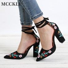 76750d9157 MCCKLE Women High Heels Plus Size Embroidery Pumps Flower Ankle Strap Shoes  Female Two Piece Sexy