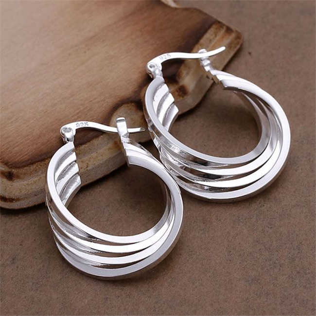 ESE157 Wholesale silver plated earrings , Factory price 925 stamped fashion jewelry  Four Ring Earrings E157 /azsajqza