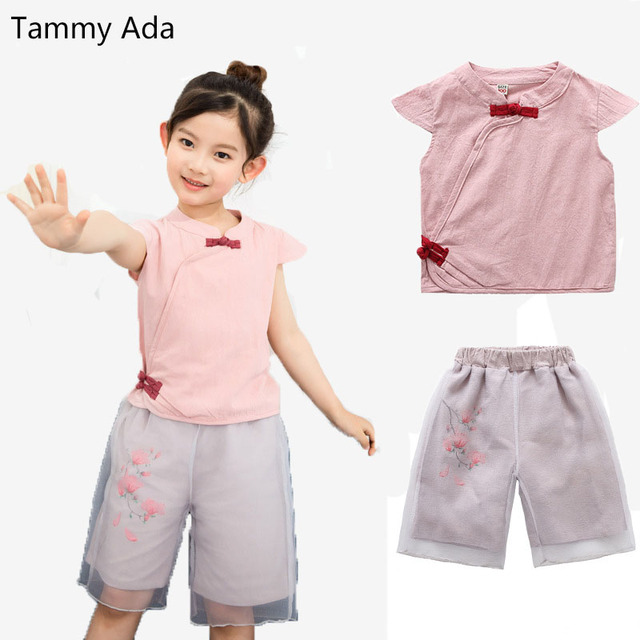 754fdd53904d Tammy Ada 2018 Summer Girls Clothing Sets Kids Clothes Chinese Style ...
