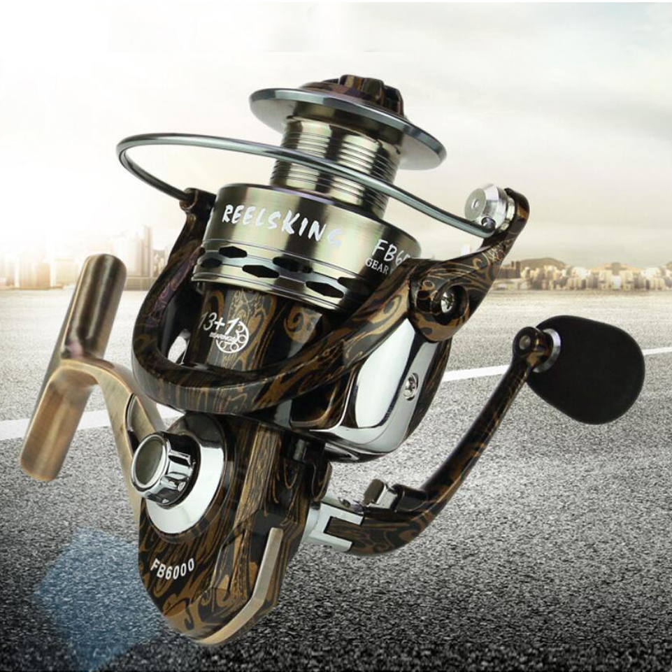 Yumoshi LK-FB Fishing Pesca Reel Spinning carretilha Metal Spool, Spinning Arm, Reel Seat, 13+1BB molinete Carp Baitcasting Reel