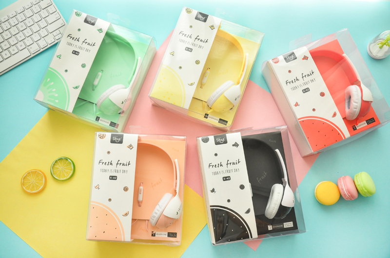 Lovely Cute Summer Fruit Colourful 3.5mm Stereo Headphone Big Headset With Microphone Kawaii Earphone for Iphone samsung Xiaomi купить