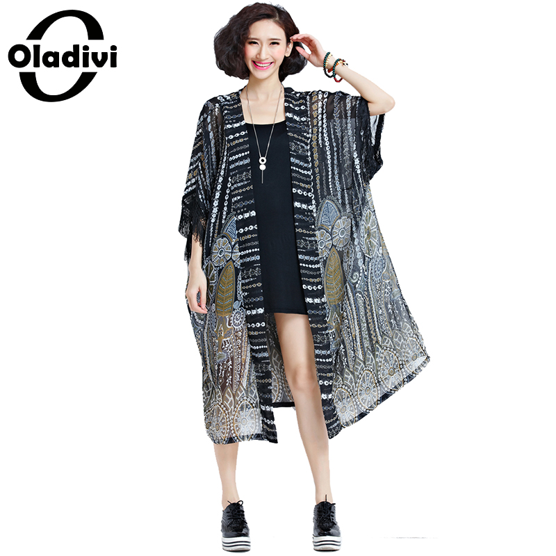 Oladivi Plus Size Women   Blouses     Shirt   Tops Long Kimono Cardigan Blusas Beach Thin Outerwear Summer 2019 Sun Protection Cover 8XL