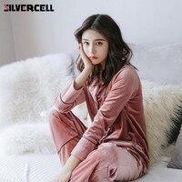 SILVERCELL Autumn Winter Women Casual Long Sleeve Velvet Pajamas Set 2pcs/set Velvet Warm Sleepwear