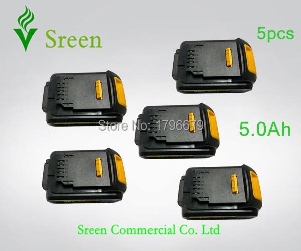 5 pcs 5000 mAh Puissance Outil Rechargeable Li Ion Batterie de Remplacement pour DEWALT 18 V DCB200 DCB201 DCB203 DCB204 DCB180 DCB181 DCB182